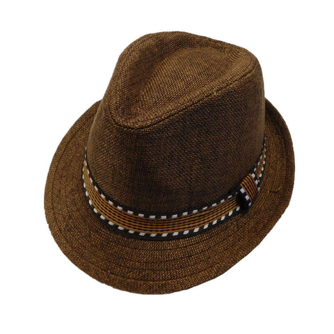 Kid's Fedora with Pattern Band - Brown