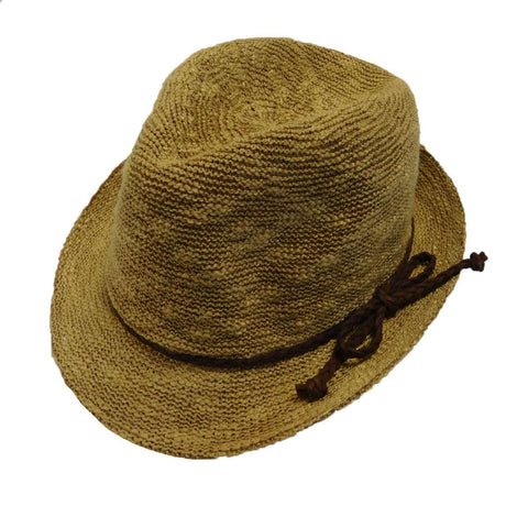 Kid's Knobby Knit Fedora - Camel