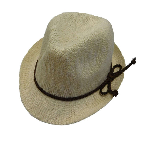 Kid's Knobby Knit Fedora - Ivory