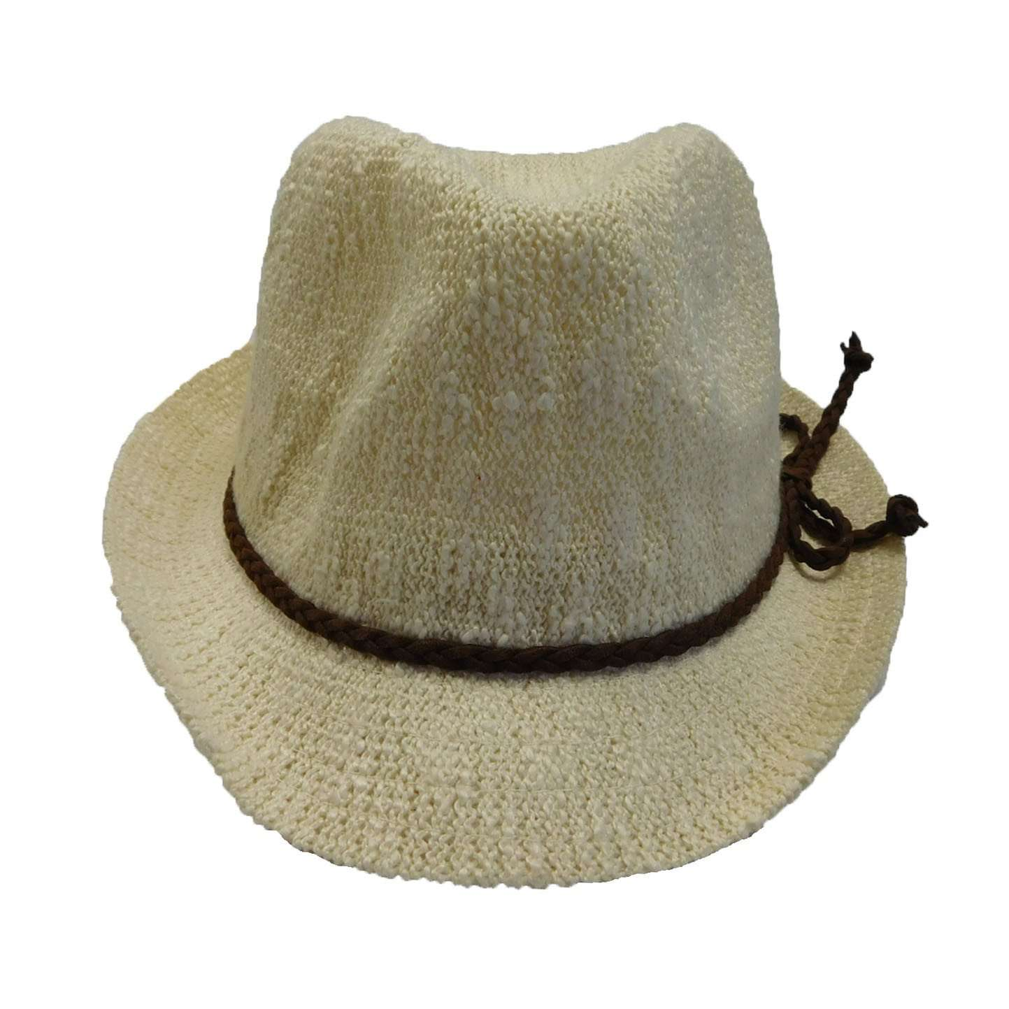 Kid's Knobby Knit Fedora - Ivory - SetarTrading Hats