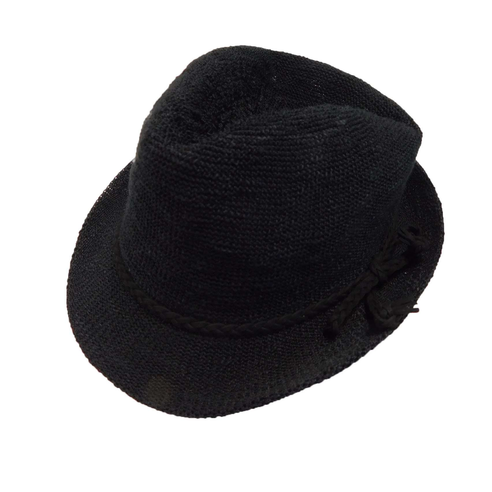 Kid's Knobby Knit Fedora - Black - SetarTrading Hats
