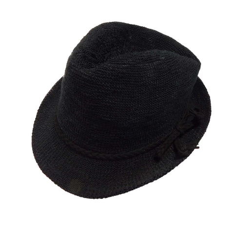 Kid's Knobby Knit Fedora - Black