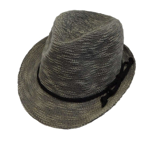 Kid's Knobby Knit Fedora - Grey