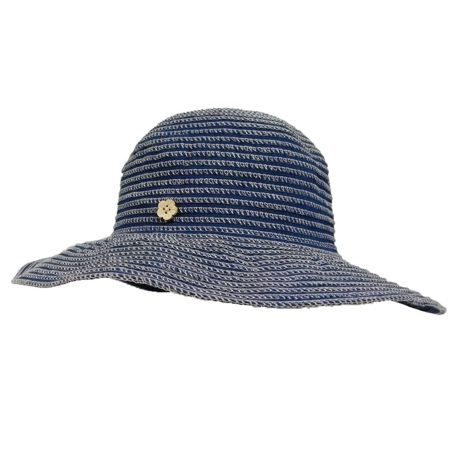 Ribbon Sun Hat with Flower Button - SetarTrading Hats