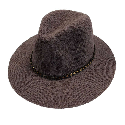 Knitted Panama Hat with Gold Band - Grey