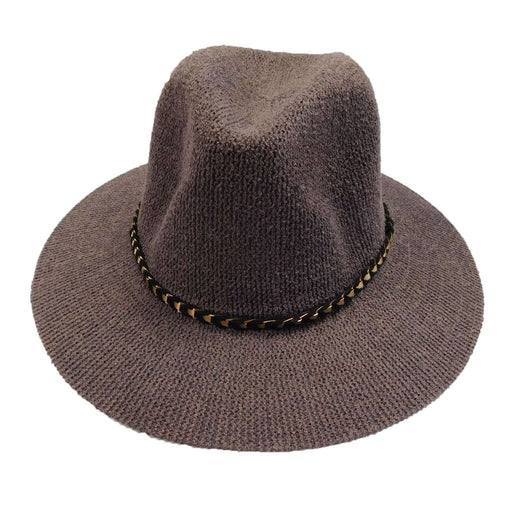 Knitted Panama Hat with Gold Band - Grey - SetarTrading Hats