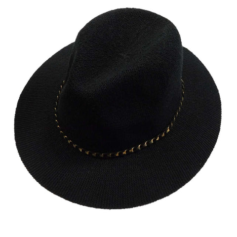 Knitted Panama Hat with Gold Band - Black