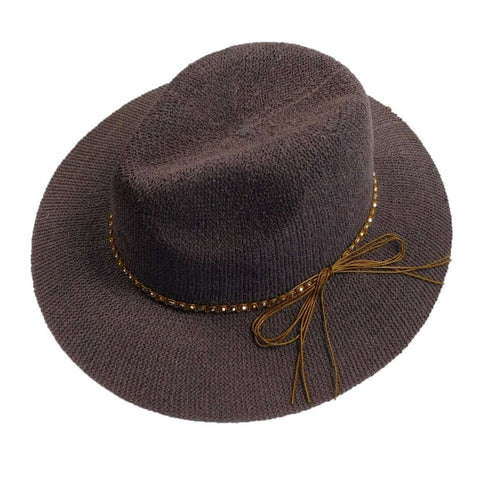 Knitted Panama Hat with Beaded Band - Grey