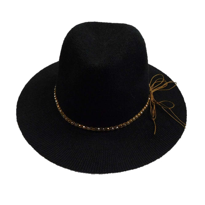 Knitted Panama Hat with Beaded Band - Black - SetarTrading Hats