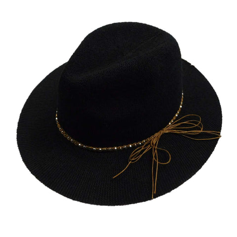 Knitted Panama Hat with Beaded Band - Black