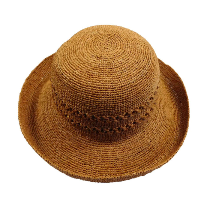 Hand Crocheted Raffia Kettle Brim Hat - Rust - SetarTrading Hats
