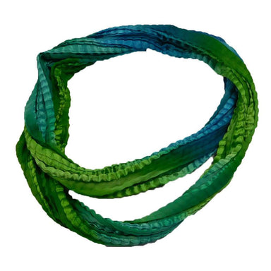 Silky Crinkled Infinity Scarf  -Green - SetarTrading Hats