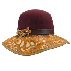 Danielle - Laser Cut Leather Brim -Burgundy - SetarTrading Hats