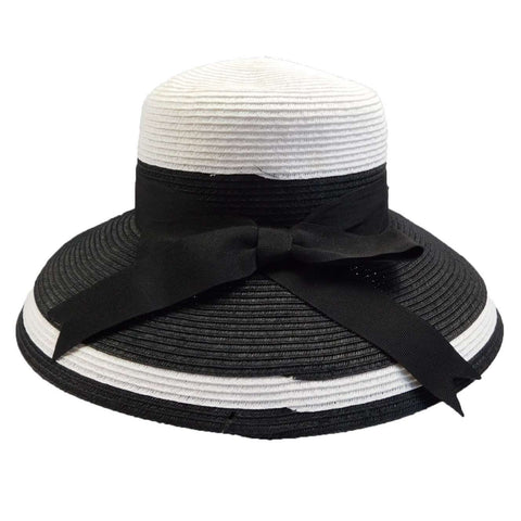 Tiffany Style Summer Hat by Karen Keith - Black and White