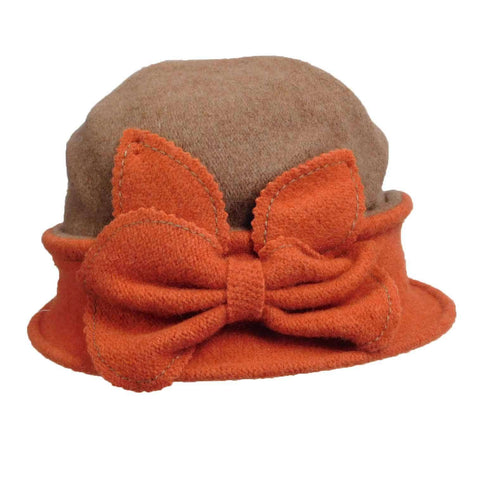 Taupe and Apricot Bow Beanie