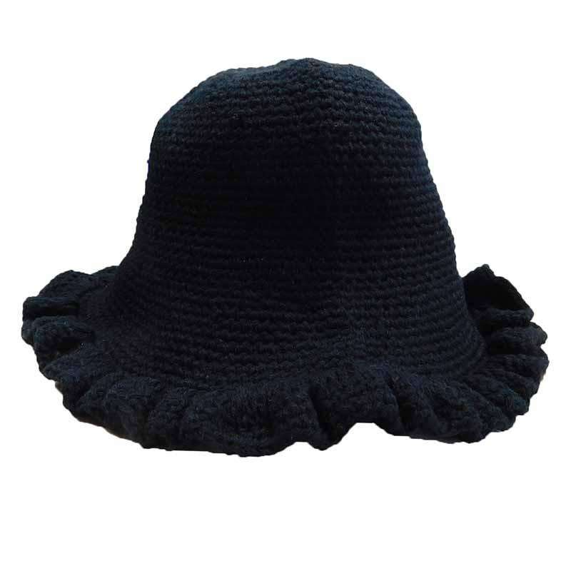 Knit Ruffle Brim Cloche Hat - SetarTrading Hats
