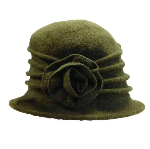 Pleated Rose Cloche Beanie Hat by JSA for Women