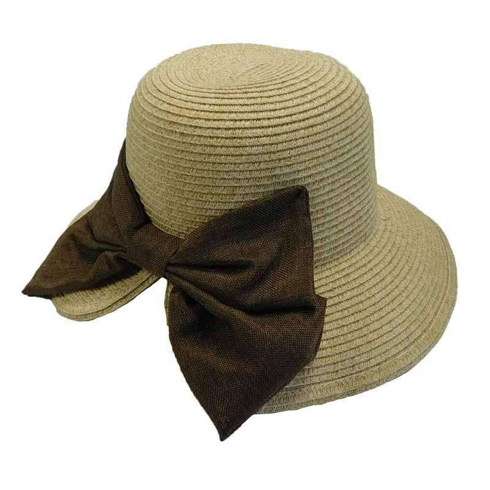 V-Back Cloche with Linen Bow - SetarTrading Hats