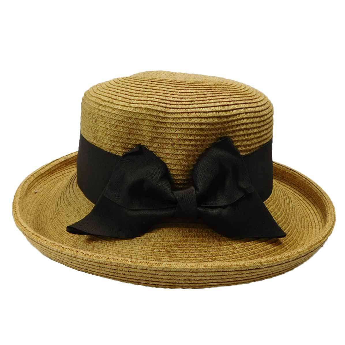 Up Turned Brim Hat with Ribbon Bow - SetarTrading Hats