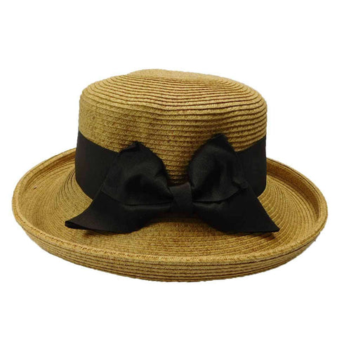 Up Turned Brim Hat with Ribbon Bow