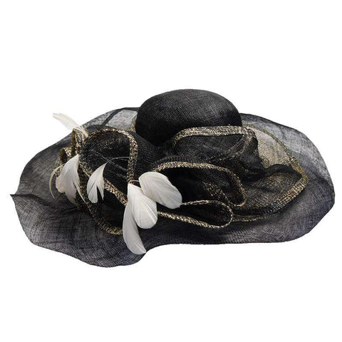 Black Sinamay Hat with Animal Print Inlay