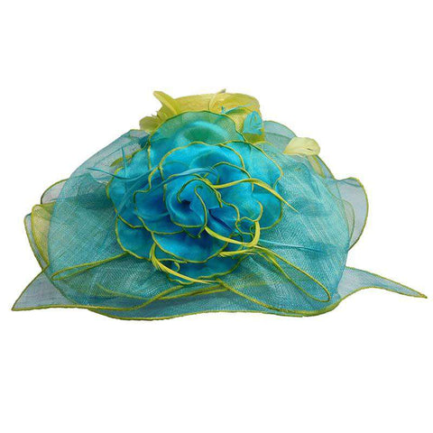 Multi Color Layered Sinamay Hat with Sheer Flower