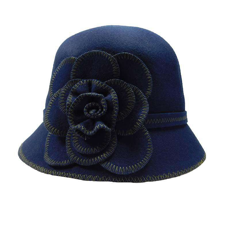 Wool Felt Cloche with Stitched Flower - SetarTrading Hats
