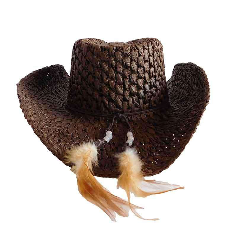 Crocheted Toyo Western Hat with Wood Flower Accent by Scala - SetarTrading Hats