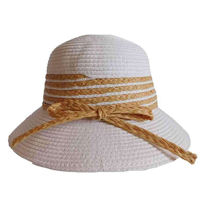 Summer Cloche Hat with Raffia Accent - DPC Outdoor Design - SetarTrading Hats