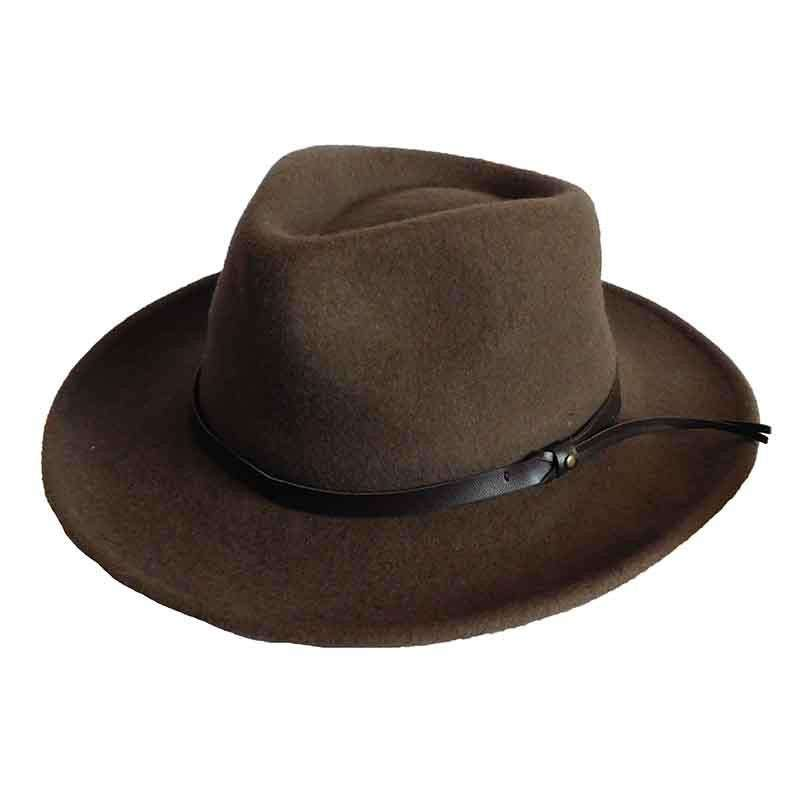 Packable Water Repellent Wool Felt Outback by Stafford - Brown - SetarTrading Hats