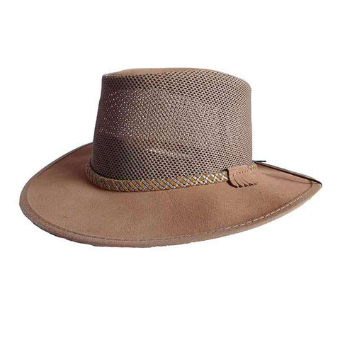 Monterey Breeze SolAir Suede and Mesh Shade Hat by Head 'N Home - Bark