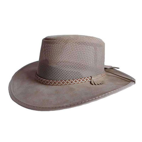 Monterey Breeze SolAir Suede and Mesh Shade Hat by Head 'N Home - Latte