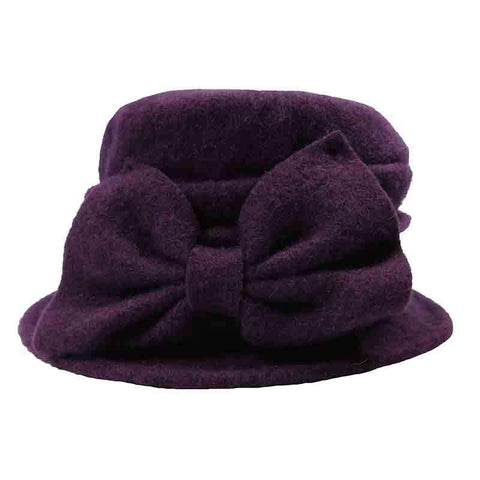 Boiled Wool Pleated Beanie with Bow by JSA for Women