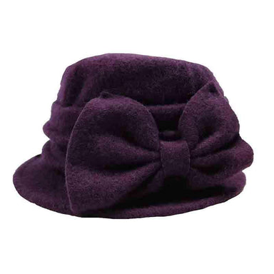 Boiled Wool Pleated Beanie with Bow by JSA for Women - SetarTrading Hats