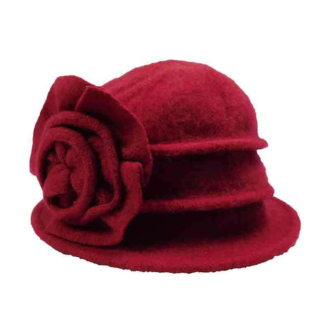 Pleated Cloche Beanie with Large Flower by JSA for Women