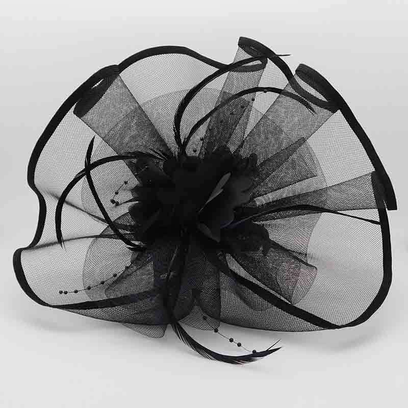 Large Wavy Tulle Fascinator with Silk Flower