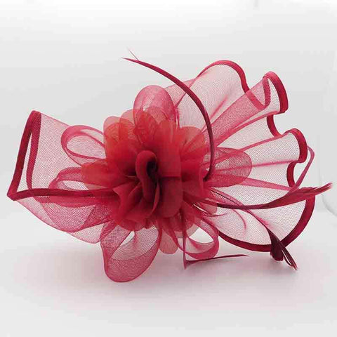 Wavy Tulle Bow with Silk Flower Fascinator