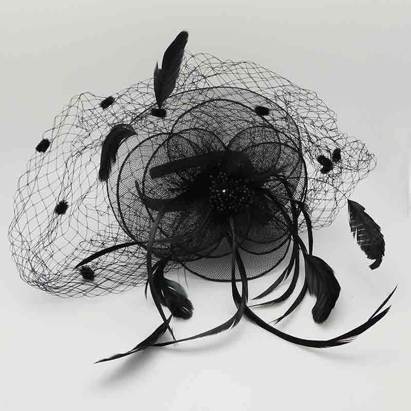 Dotted Veil Horsehair Fascinator with Feather Detail - SetarTrading Hats