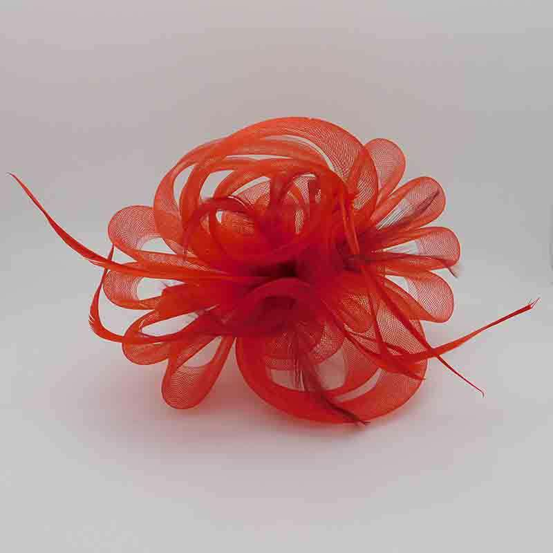 Triple Flower Loopy Mesh Fascinator with Feather Detail