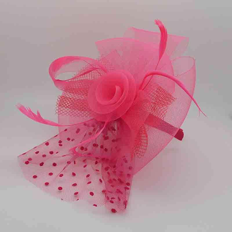 Polka Dot and Checkered Netting Fascinator