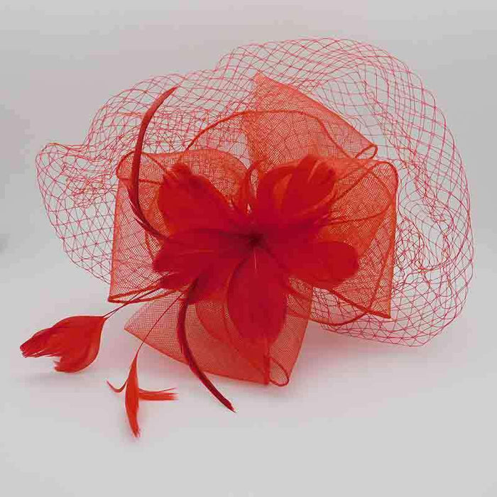 Feather Flower Fascinator with Netting Veil - SetarTrading Hats