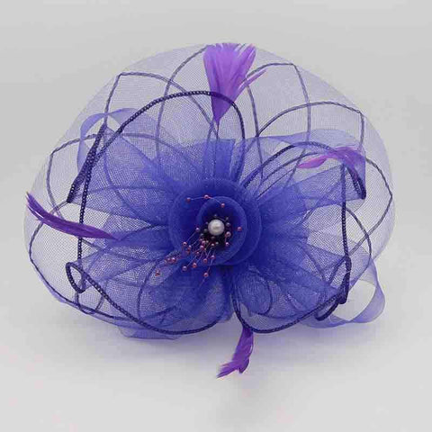 Checkered Mesh and Flower Fascinator with Beads