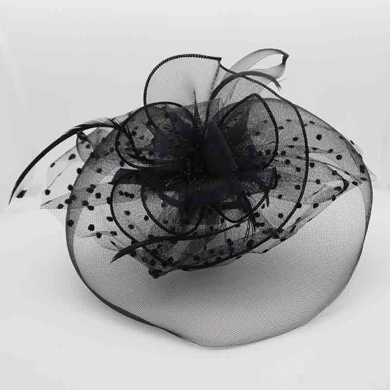 Tulle Heart Fascinator with Polka Dot Netting