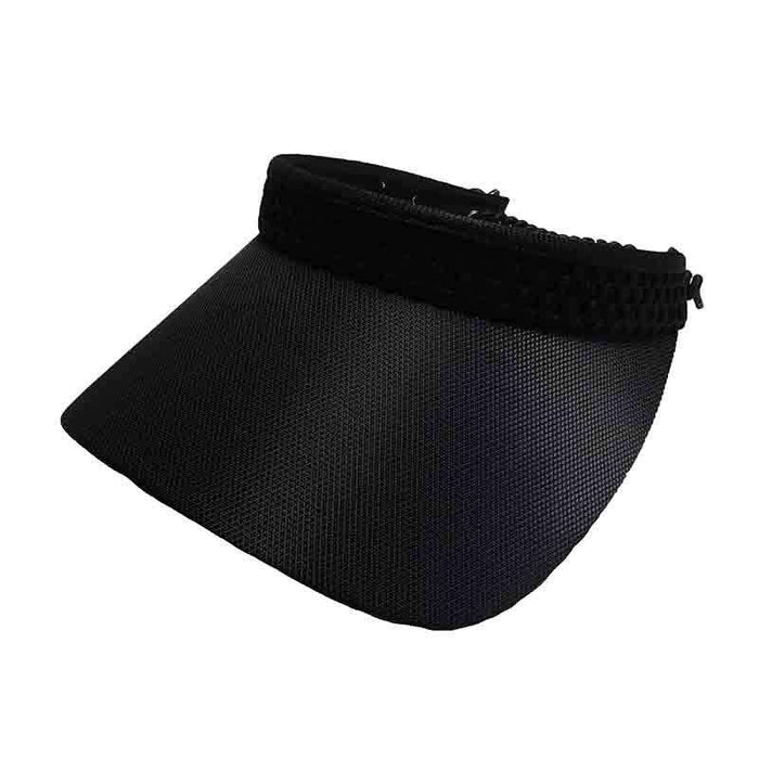 Black Mesh Band Golf Sun Visor with Coil Lace by GloveIt - SetarTrading Hats