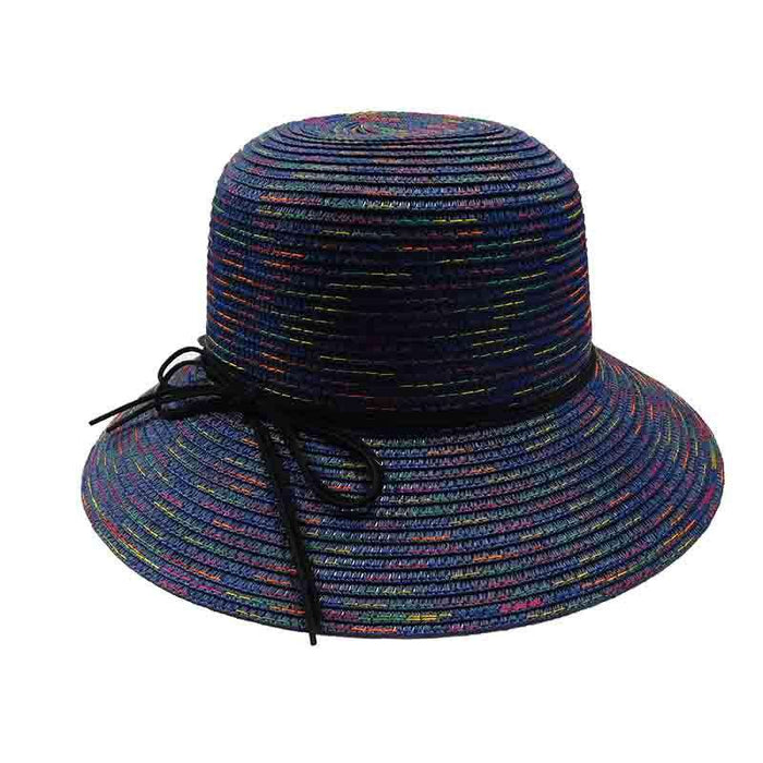 Large Brim Lampshade Style Hat with Rainbow Stitching