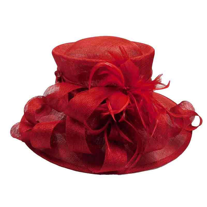 Red Sinamay Dress Hat with Feather Flower