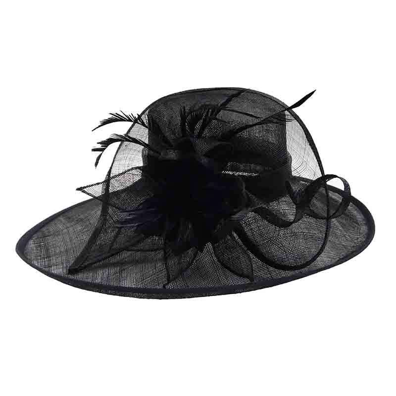 Black Oval Sinamay Dress Hat with Feather Accent
