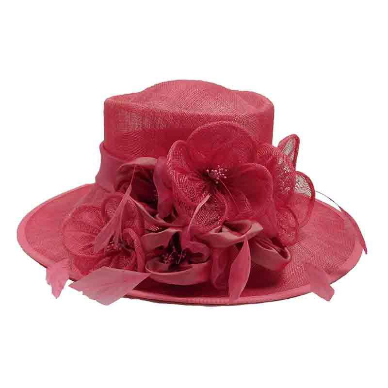 Pink Sinamay Dress Hat with Flower Blossom