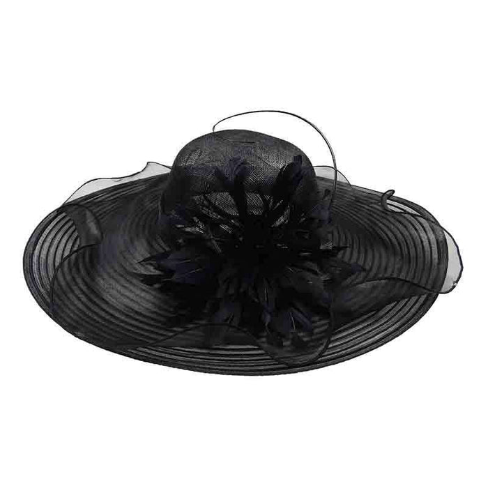 Layered Brim Kentucky Derby Hat with Large Feather Accent