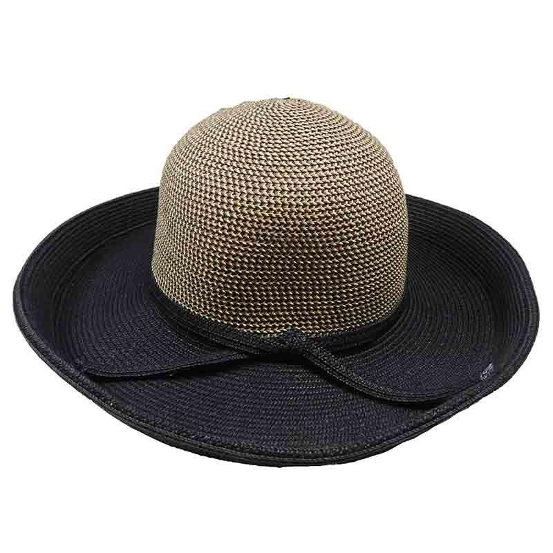 Two Tone Tweed Crown Kettle Brim Sun Hat by JSA